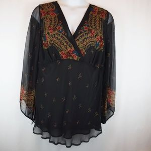 Lane Bryant Blouse 100% Silk Tunic Sheer Top NWT